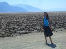Fernanda in the isolated desolation of the Devil's Golf Course in Death Valley